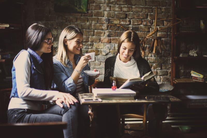Muchachas sonrientes de los estudiantes que hablan en café imagen de archivo