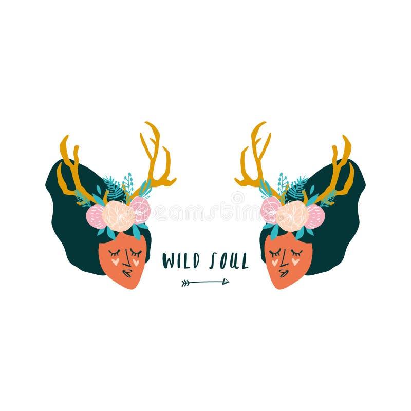 Muchachas tribales del boho lindo de la historieta con los cuernos de los ciervos Vector libre illustration