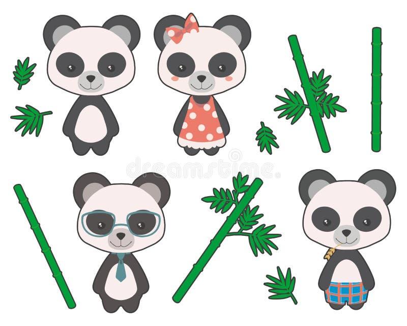 Muchachas y muchachos lindos del oso de panda gigante del estilo de la historieta con el ejemplo del ropa y de bambú del vector ilustración del vector