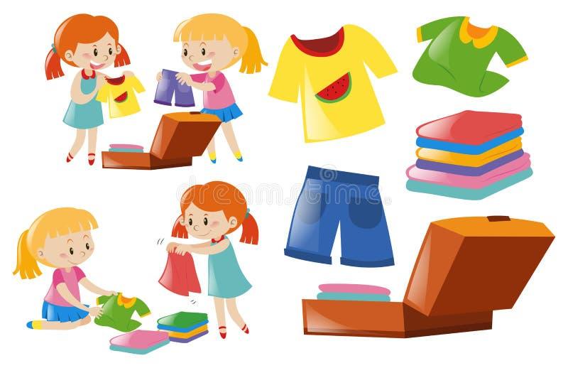 Muchachas y sistema de ropa stock de ilustración