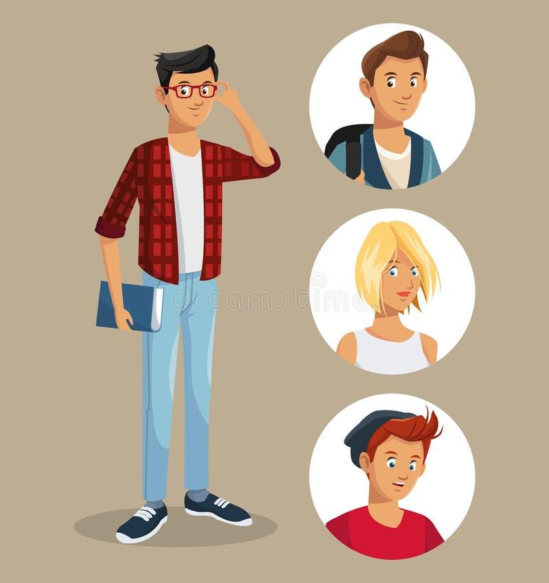 Muchacho adolescente con los iconos de los amigos del libro de los vidrios libre illustration