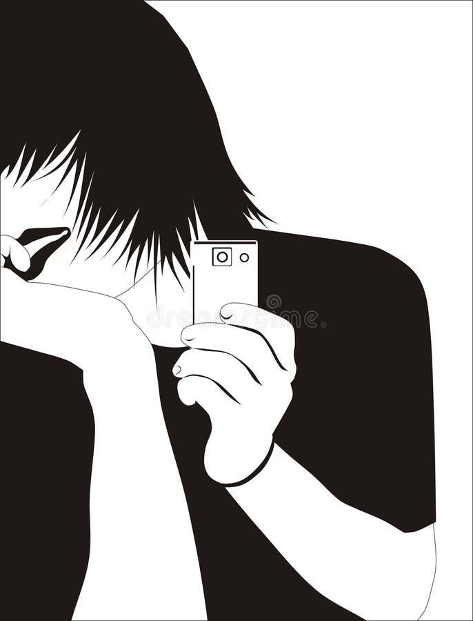 muchacho adolescente con un teléfono (negro) stock de ilustración