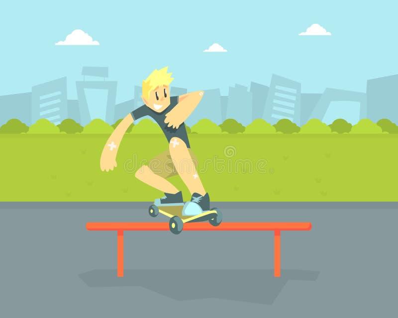 Muchacho adolescente en monopatín del montar a caballo de la gorra de béisbol, skater que hace el ejemplo de salto del vector del ilustración del vector