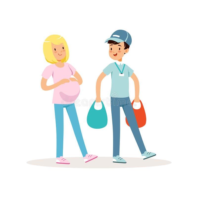 Muchacho adolescente que ayuda a la mujer embarazada con los paquetes de las compras Niño de la historieta en casquillo azul, cam stock de ilustración