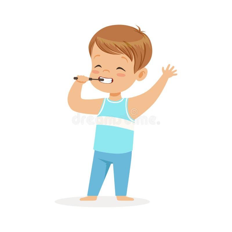 Muchacho adorable de la historieta que cepilla sus dientes, ejemplo del vector del cuidado dental de los niños libre illustration