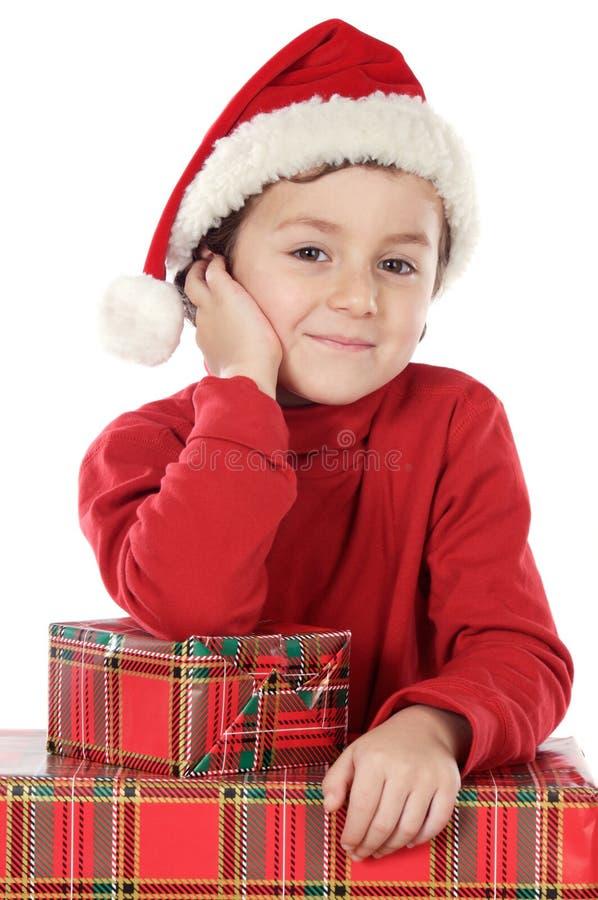 Muchacho adorable en la Navidad foto de archivo libre de regalías