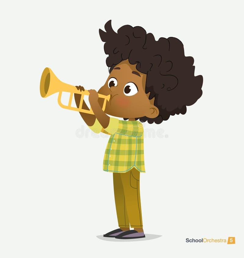 Muchacho afroamericano en juego verde de la camisa en la trompeta ilustración del vector