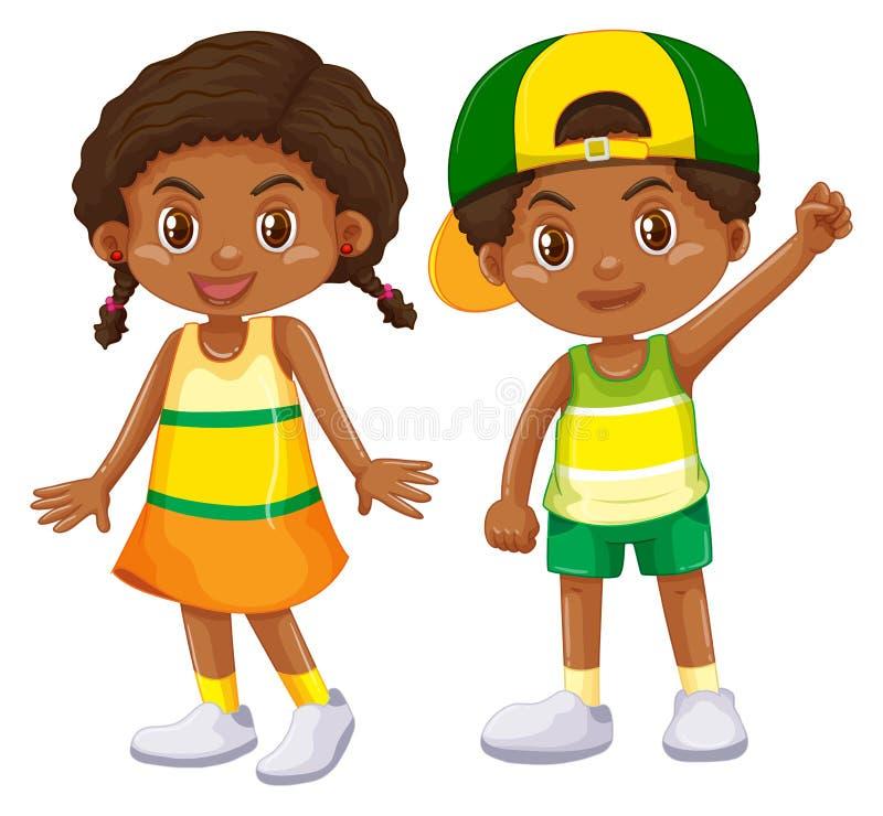 Muchacho afroamericano y muchacha stock de ilustración