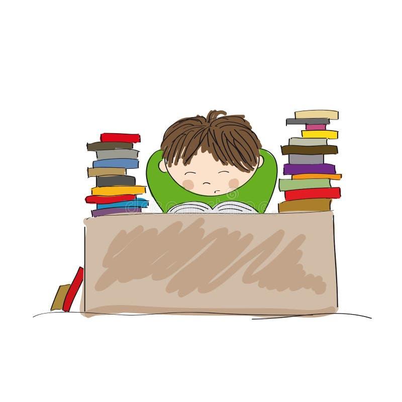 Muchacho agotado que se prepara para los exámenes, estudiando difícilmente stock de ilustración