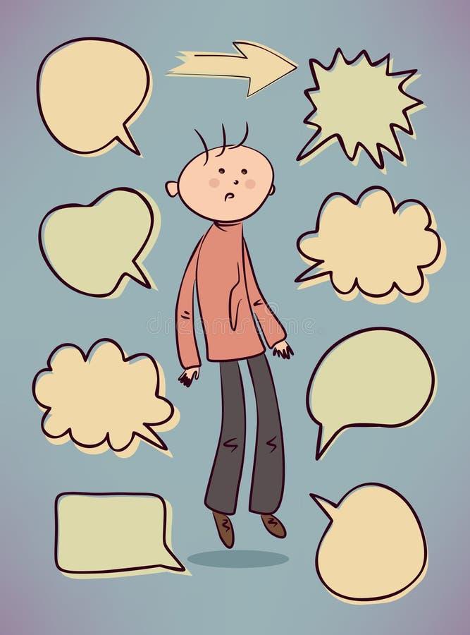 Muchacho ansioso con las burbujas del discurso ilustración del vector