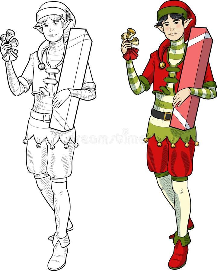 Muchacho asiático del duende de la Navidad con el regalo libre illustration