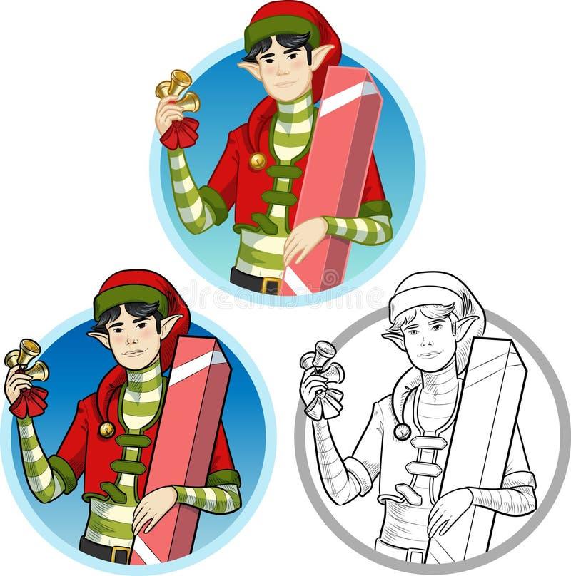Muchacho asiático del duende de la Navidad con el sistema del regalo libre illustration
