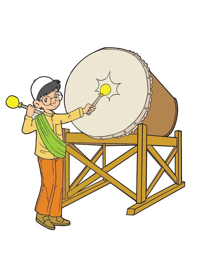 Muchacho asiático musulmán que juega con el tambor stock de ilustración