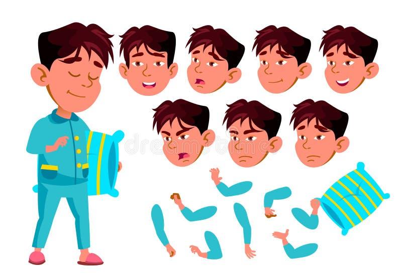 Muchacho asiático, niño, niño, vector adolescente alumno conferencia Emociones de la cara, diversos gestos Sistema de la creación ilustración del vector