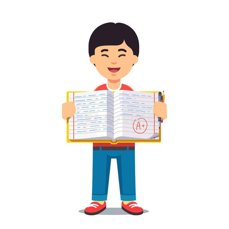 Muchacho asiático y libro de trabajo abierto con escritura libre illustration