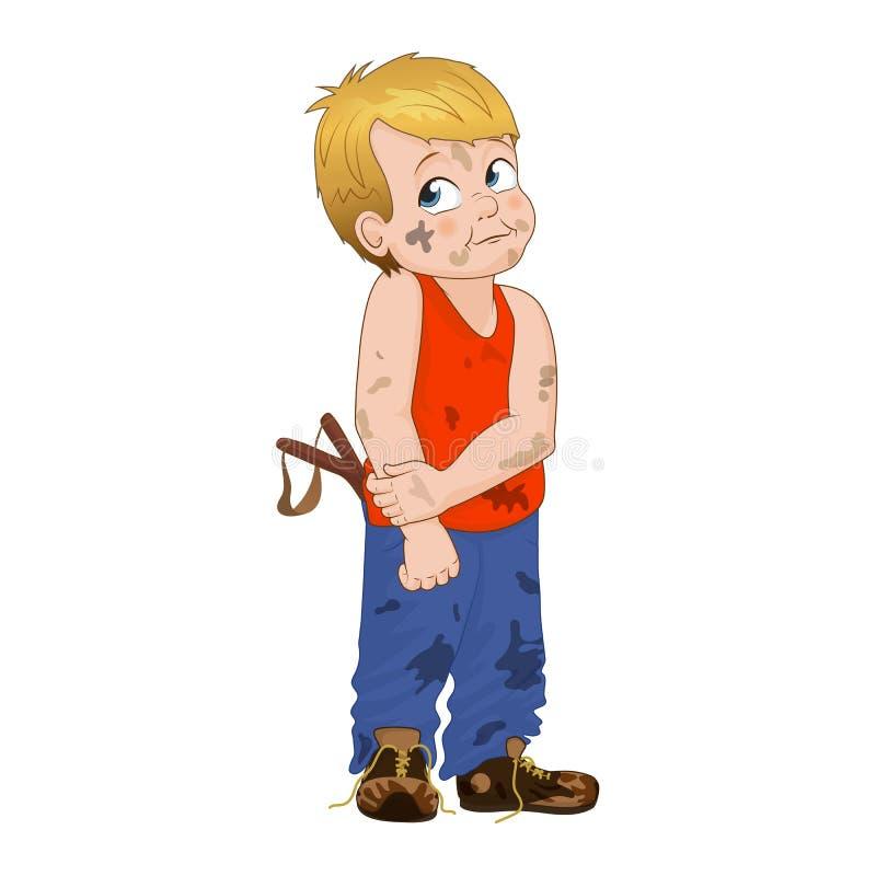 Muchacho astuto del matón del ejemplo del vector pequeño El muchacho tiene aspecto desordenado y él tiene en su bolsillo una cata libre illustration
