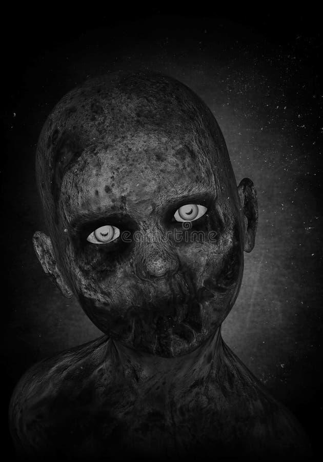 Muchacho asustadizo del zombi stock de ilustración