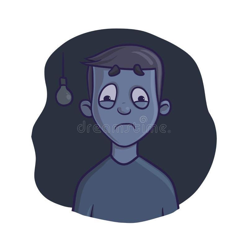 Muchacho asustado en sitio oscuro Miedo de la oscuridad, pesadilla Ejemplo del vector, aislado en el fondo blanco stock de ilustración
