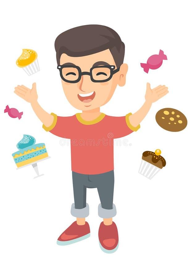 Muchacho caucásico feliz que se coloca entre porciones de dulces ilustración del vector