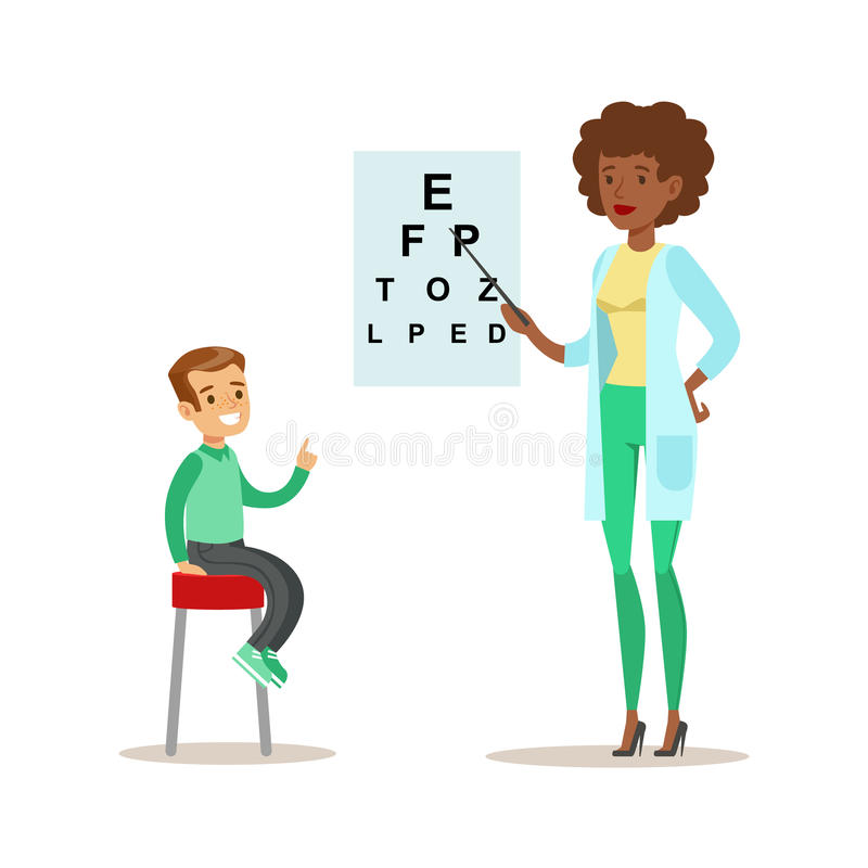 Muchacho Checkeing su vista con la carta en chequeo médico con el doctor de sexo femenino Doing Physical Examination del pediatra libre illustration