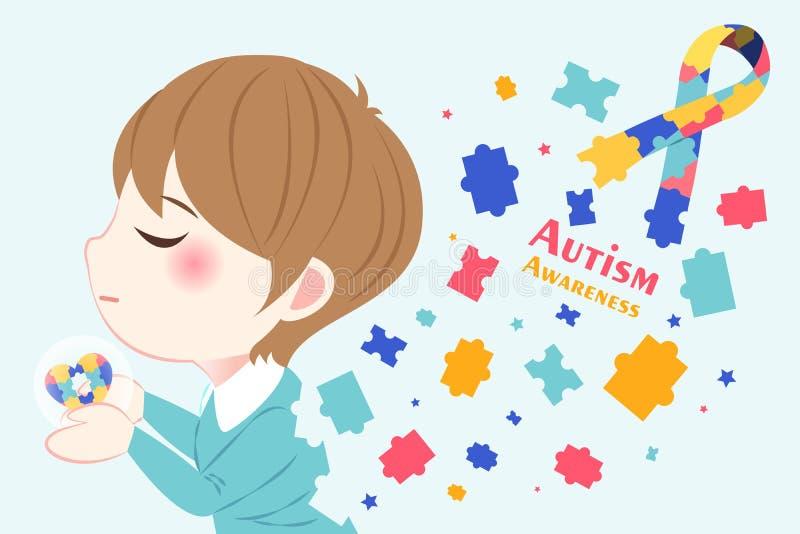 Muchacho con concepto de la conciencia del autismo stock de ilustración