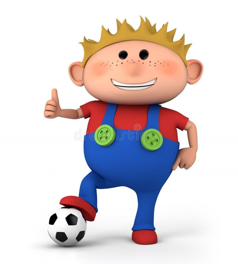 Muchacho con el balón de fútbol stock de ilustración
