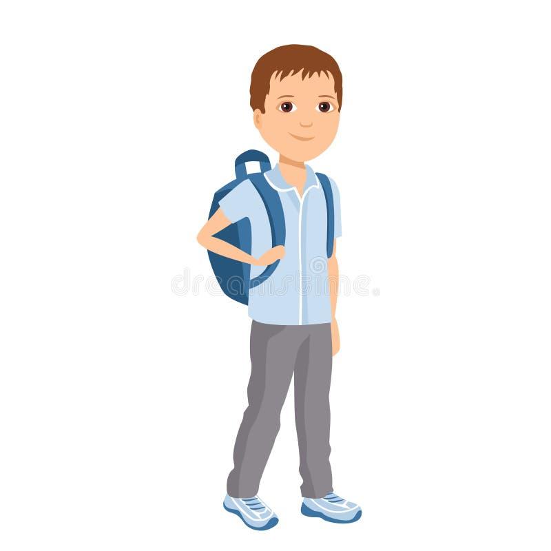 Muchacho con el bolso aislado en el fondo blanco Ejemplo del vector del niño con la mochila ilustración del vector