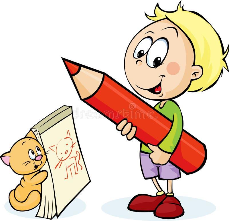 Muchacho con el gato rojo del dibujo de lápiz ilustración del vector