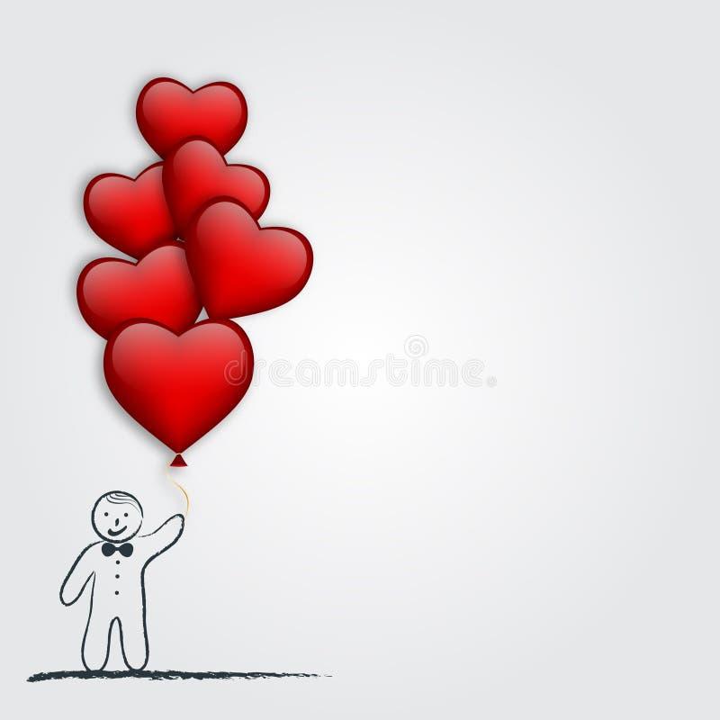 Muchacho con el globo en forma de corazón Corazón verde estilizado de la ilustración del vector Ilustración del vector ilustración del vector
