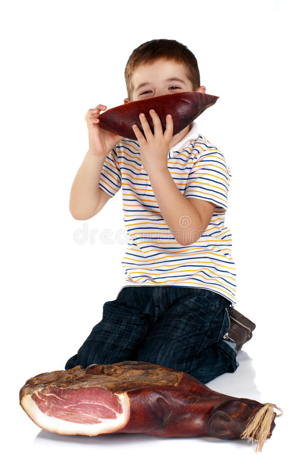 Muchacho con el jamón fotografía de archivo libre de regalías
