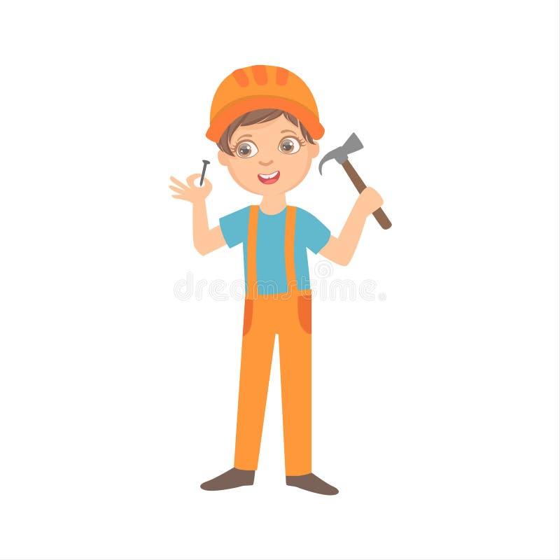 Muchacho con el martillo y el clavo, niño vestido como ejemplo determinado de la profesión ideal futura del sitio de On The Const stock de ilustración