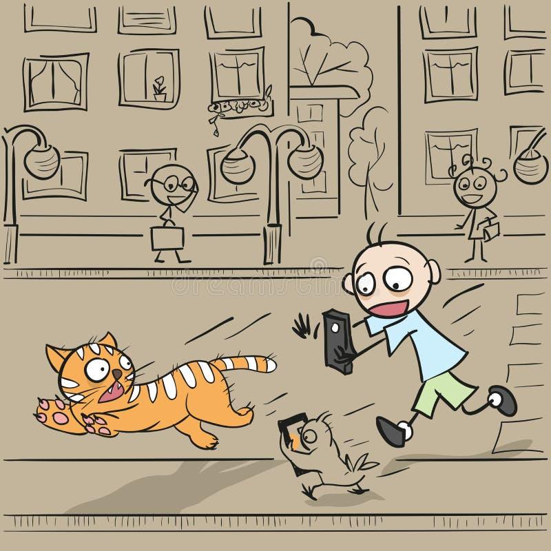 Muchacho con el teléfono que corre para el gato ilustración del vector