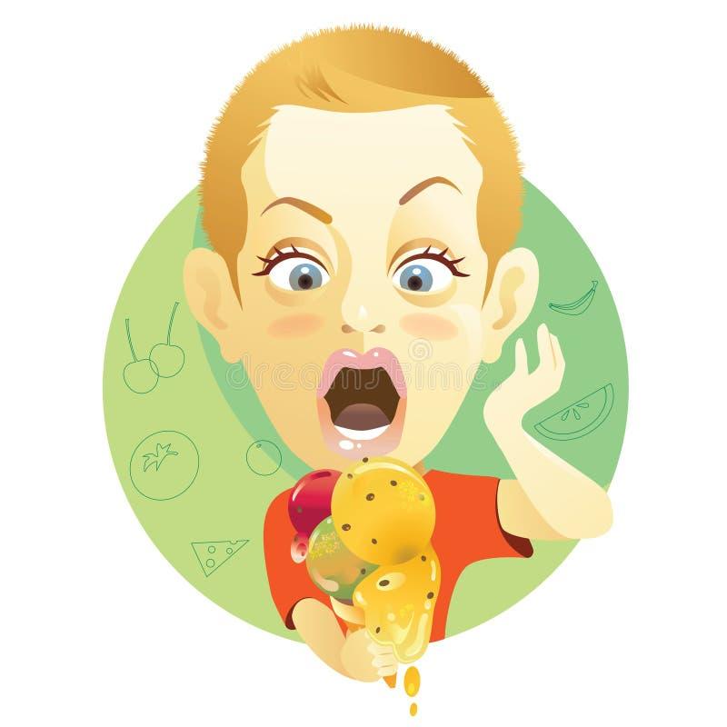 Muchacho con helado libre illustration