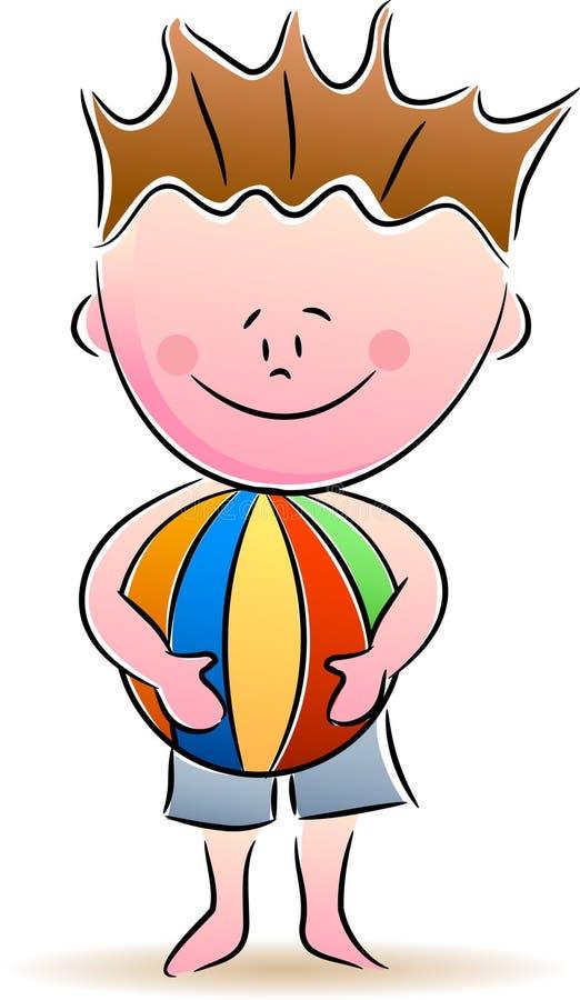 Muchacho con la bola stock de ilustración
