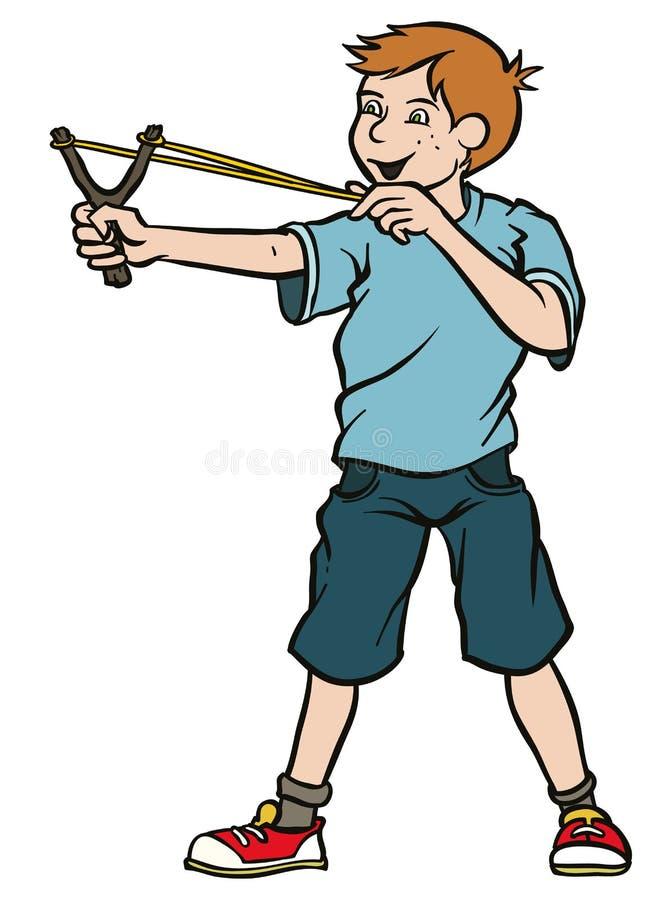 Muchacho con la catapulta ilustración del vector