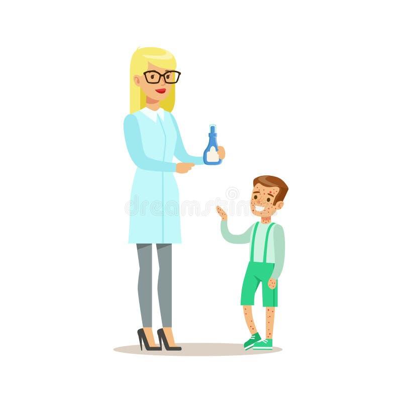 Muchacho con la erupción en chequeo médico con el doctor de sexo femenino Doing Physical Examination del pediatra para la salud d stock de ilustración