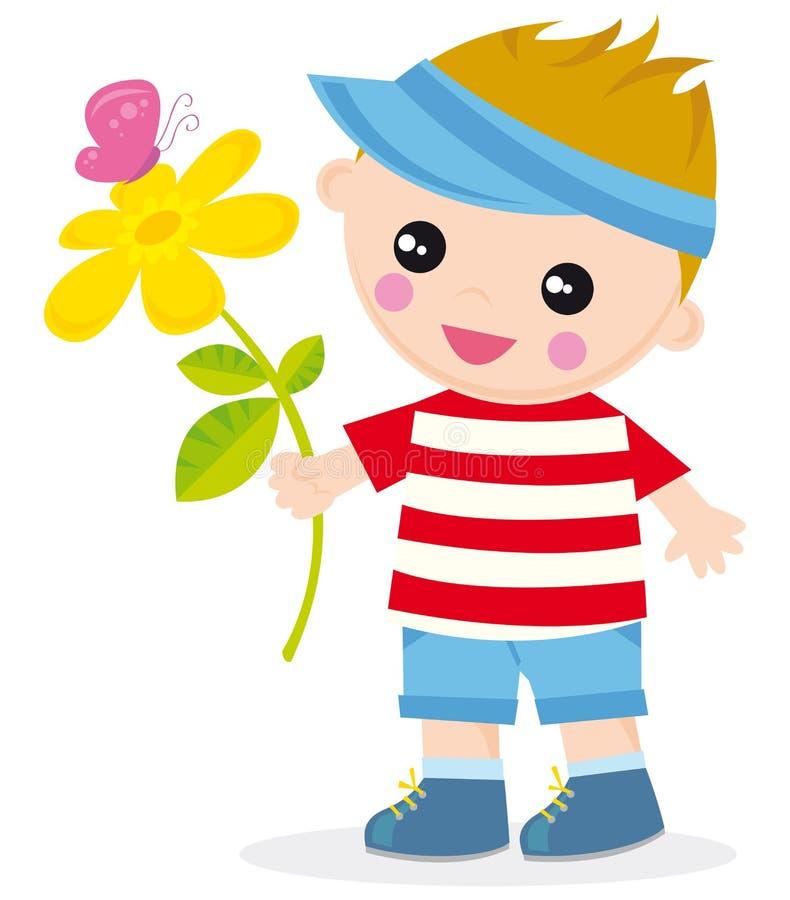 Muchacho con la flor libre illustration
