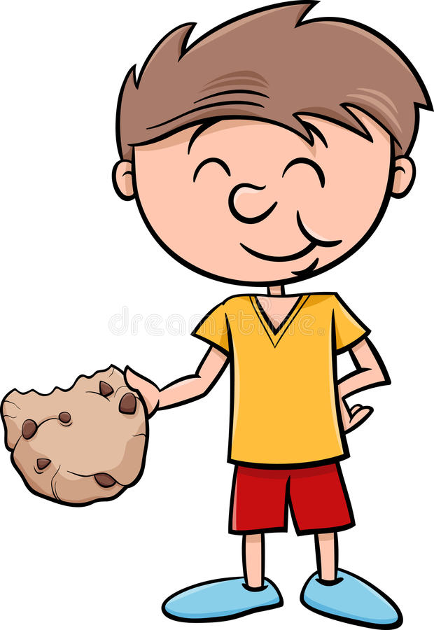 Muchacho con la historieta de la galleta ilustración del vector