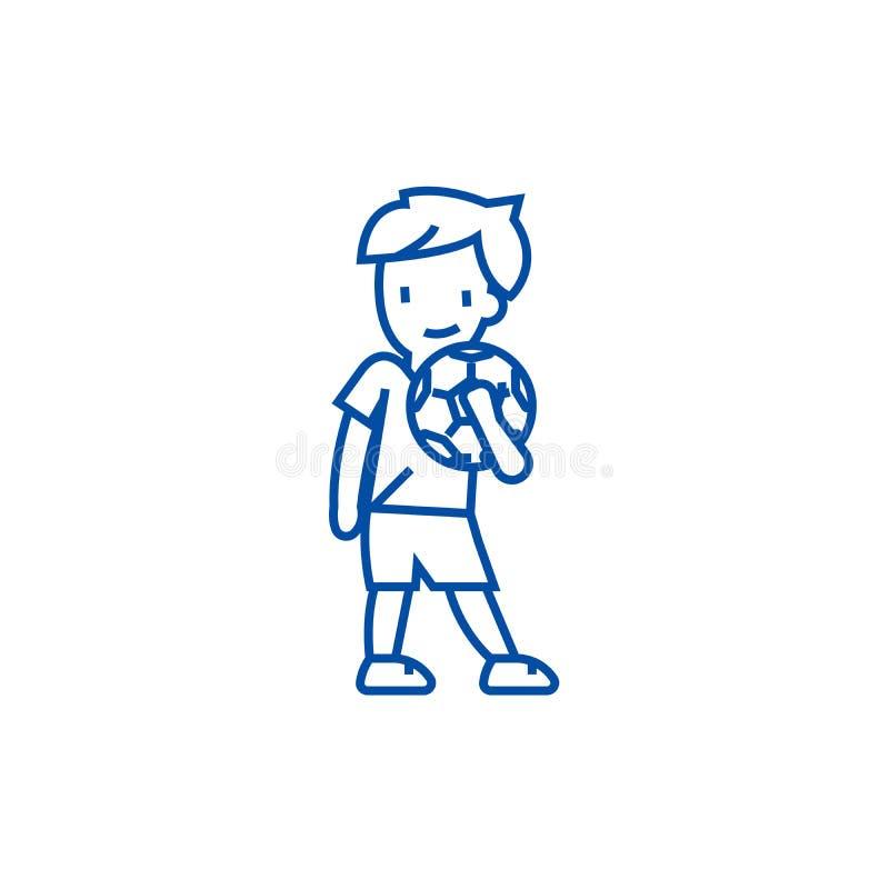 Muchacho con la línea concepto de la bola del icono Muchacho con el símbolo plano del vector de la bola, muestra, ejemplo del esq libre illustration