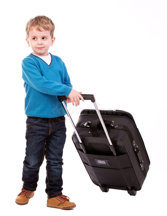 Muchacho con la maleta imágenes de archivo libres de regalías