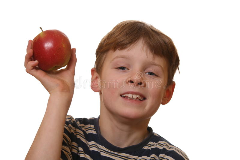 Muchacho con la manzana imágenes de archivo libres de regalías