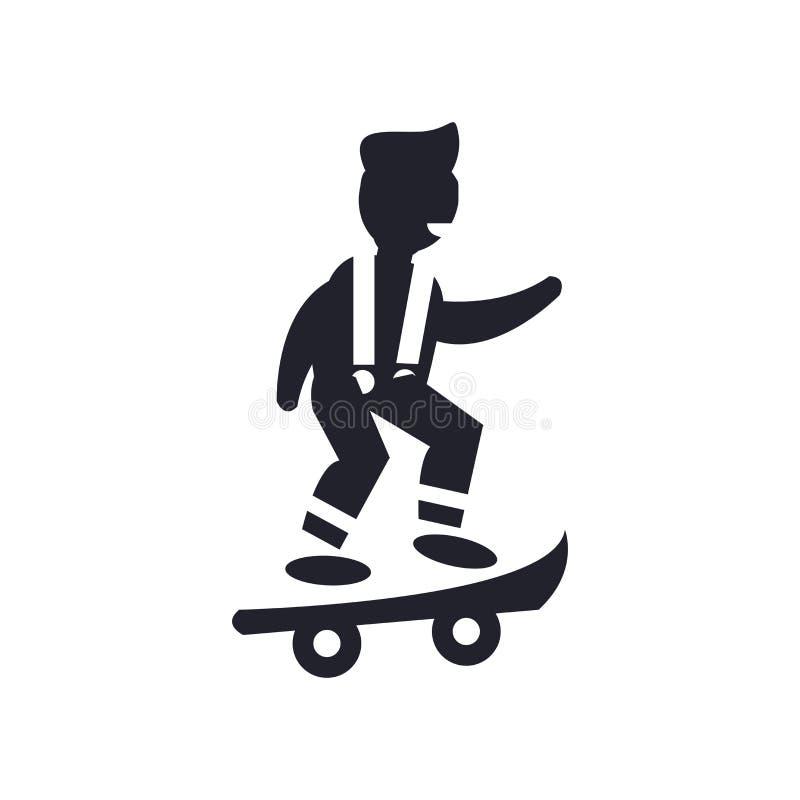 Muchacho con la muestra y el símbolo del vector del icono del skatingboard aislado en el fondo blanco, muchacho con concepto del  libre illustration