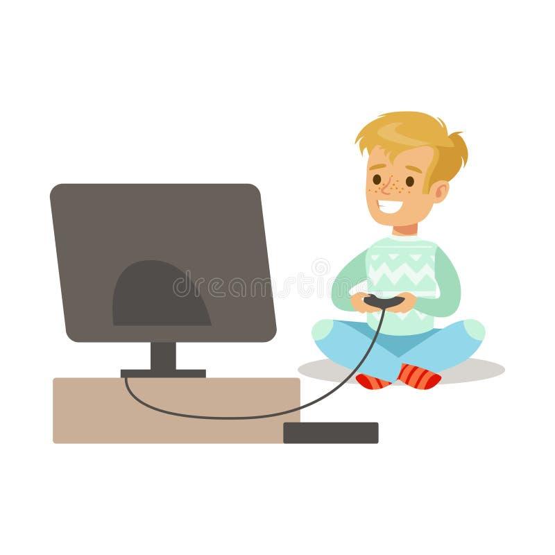 Muchacho con la palanca de mando y la consola, parte de videojugadores felices gozando jugando al videojuego, gente dentro que se stock de ilustración