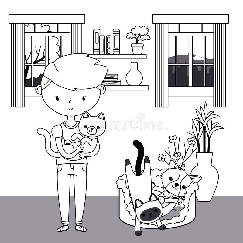 Muchacho con los gatos y diseño de la historieta del perro libre illustration