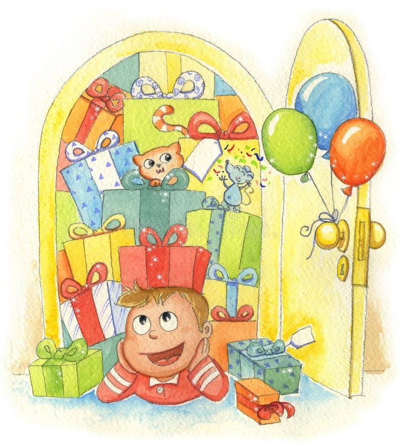 Muchacho con los regalos stock de ilustración