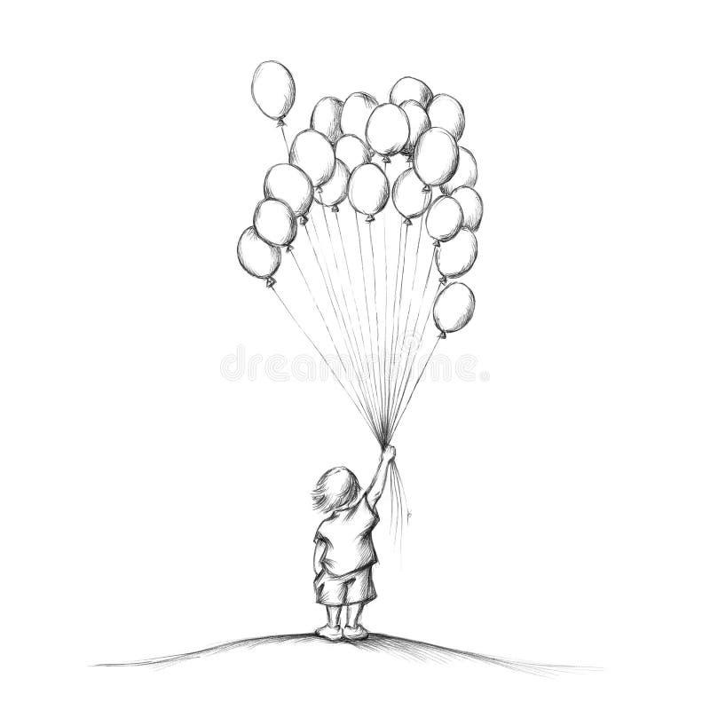 Muchacho con muchos globos libre illustration