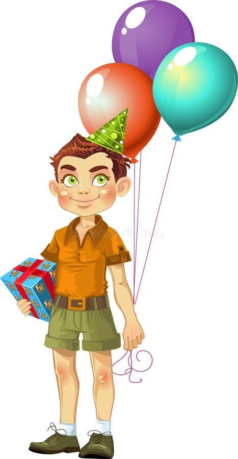 Muchacho con un regalo para la fiesta de cumpleaños stock de ilustración