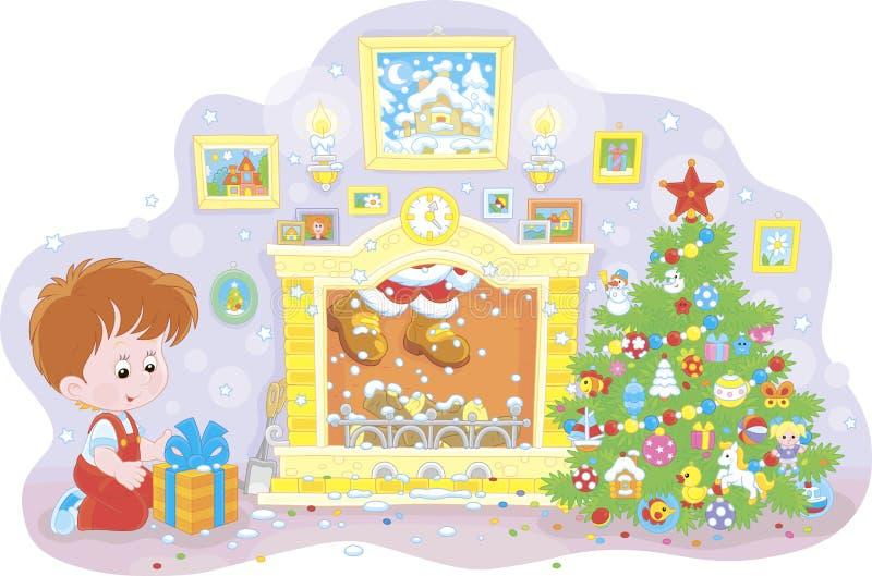 Muchacho con un regalo y Papá Noel en una chimenea libre illustration