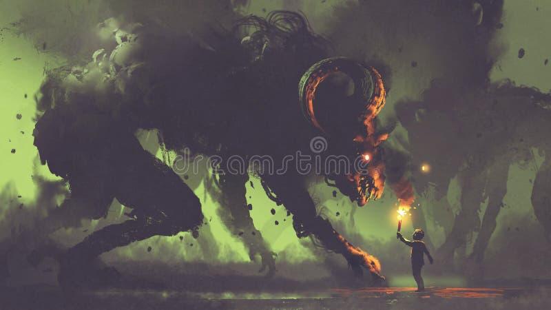 Muchacho con una antorcha que hace frente a monstruos del humo stock de ilustración
