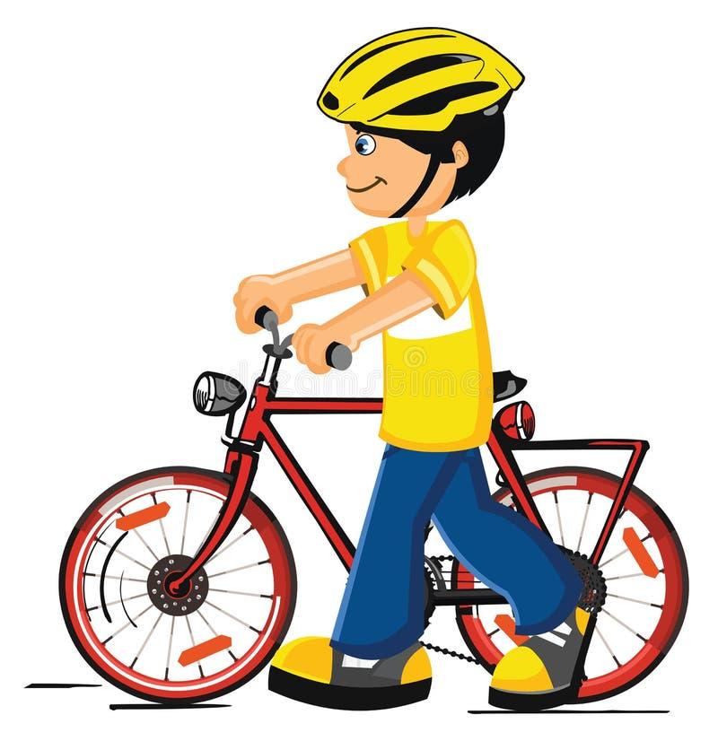 Muchacho con una bicicleta ilustración del vector